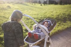 Siblings, winter sun, getting outside and trying out this Greentom eco friendly stroller
