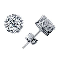 Silver Plated Crown Stud Earring: USD $7.53