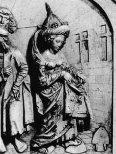 The testing of a witch by red-hot (700-900C) ploughshare, bass-lief from The Bamberg Cathedral ~ the 13th century - What was the total IQ of Inquisitio Haereticae Pravitatis Sanctum Officium, or The Inquisition if they believe that an innocent girl would not burn her legs while walking on the hot-red iron? Hope they have tested this idea on themselves.