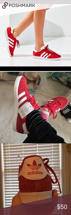 🍒 cherry red adidas gazelle Cherry 🍒 red suede Adidas Gazelle classics. Youth size 5.5 which translates to women's size 7.5. A great closet staple at an excellent price! Ready to ship. Adidas Shoes Athletic Shoes