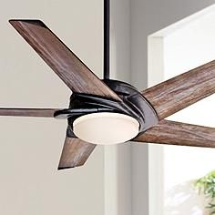 "54"" Casablanca Stealth Aged Steel LED Ceiling Fan"