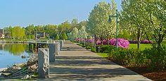 Waterfront park in spring Burlington, Vermont