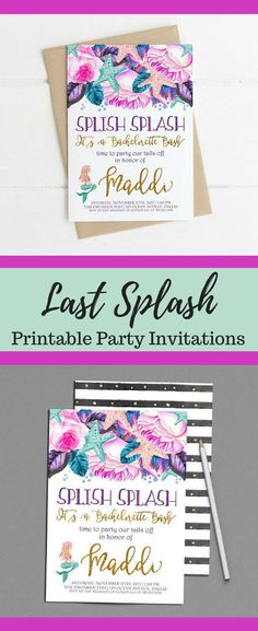 Mermaid Bachelorette Party Invitations, Last Splash, Splish Splash Bridal Shower Bash, Party our Tails off, Under the Sea Invite Printable Bachelorette Party Invitations, Party Favors, Bachelorette Parties, Baby Shower Printables, Party Printables, Under The Sea Invites, Mermaid Invitations, Bridal Invitations, Bridal Shower Favors