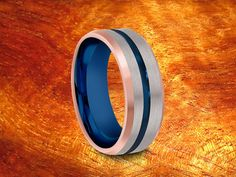 Blue & Rose Gold Plated Tungsten Ring 8MM3 Tone by Silvershowroom