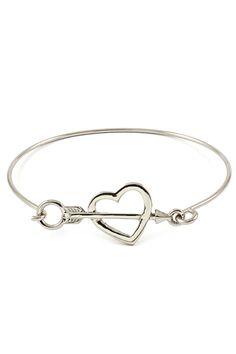 Silver Sweetheart Bracelet - Cupid Arrow & Heart Charm Bracelet