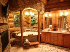 I love how they enclosed the tub. I wouldn't use those wood posts. I would either do stone, or huge round cedar. You know if I had money. Since I don't jave money I would mimic the architecture with the arches and the lowered ceiling.  Cozy rustic bathroom