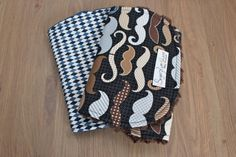 Baby Boy Burp Cloth Set of 2 Mustache with Navy Blue Minky Dot and Brown Minky Back on Etsy, $18.00