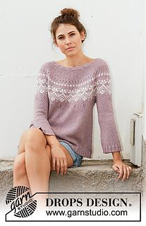 Rosewood / DROPS - Free knitting patterns by DROPS Design Knitted sweater in DROPS Sky. The piece is worked from top to bottom with round yoke, Nordic pattern, A-cut and long. Knitting Patterns Free, Knit Patterns, Free Knitting, Knit Jumper Pattern, Drops Design, Laine Drops, Drops Patterns, How To Start Knitting, Fair Isle Knitting