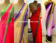 Mirror Work Saree with Jacket blouse designs