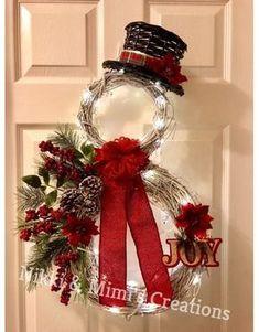 Items similar to LED Lit Snowman Christmas/Holiday Grapevine Wreath - Christmas Wreath - Holiday Wreath - Winter Wreath - Snowman Wreath - Christmas Gift on Etsy Christmas Snowman, Rustic Christmas, Christmas Holidays, Christmas Ornaments, Snowman Wreath, Christmas Yarn, Make A Christmas Wreath, Grapevine Christmas, Snowflake Wreath