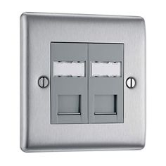 BG Electrical RJ45 Double Data Outlet, Brushed Steel: Amazon.co.uk: Business, Industry & Science