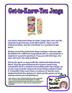 Here is a great back to school game! Use these statement strips to make Jenga into a fun way for students to get to know each other better. There are 54 statement strips, one for each block in a standard Jenga game. Counseling Activities, Group Counseling, Therapy Activities, Play Therapy, Therapy Ideas, Speech Therapy, Communication Activities, Childcare Activities, Occupational Therapy