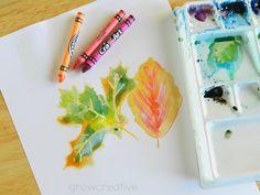 Crayon and Watercolor Art -- Fall Leaves Art Tutorial