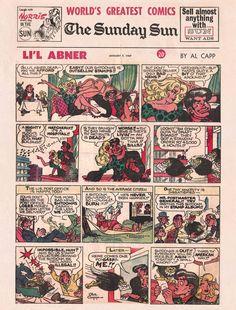 Sunday Comics II -- Li'l Abner Vintage Type, Vintage Items, Li'l Abner, Classic Comics, Vintage Comics, Newspaper, Comic Art, 1950s, The Past