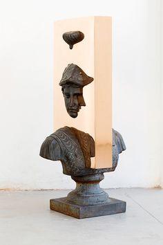 'boolean' and (bust), 2017 – nucleo_piergiorgio robino + edoardo u. trave.  welded, polished, bronze plates on antique sculpture – 40 x 53 x 100h cm – unique piece