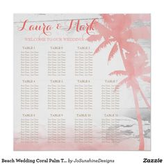 Shop Beach Wedding Coral Palm Trees Wood Seating Chart created by JoSunshineDesigns. Wedding Coral, Seating Charts, Shabby Chic Style, Cool Gifts, Palm Trees, Ocean, Wood, Beach, Blue