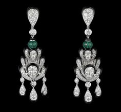 CARTIER. Earrings - white gold, two emerald beads, black lacquer, brilliant-cut diamonds
