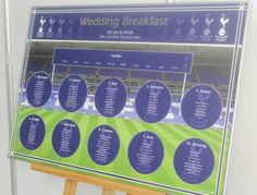 Tottenham Hotspur wedding table plan with tables named after your favourite players. Hand finished with mirrored titling and border inlay and the tables named after your favourite players. Wedding Table Themes, Seating Plan Wedding, Wedding Ideas, Mirror Table Plan, Football Wedding, Football Themes, Seating Plans, Table Names, Wedding Matches