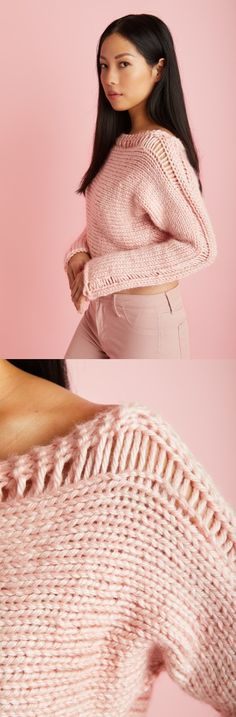 Cropped Drop Stitch Pullover Free Knitting Pattern. Modern sweater to knit for women. Pink sweater, modern knitwear.