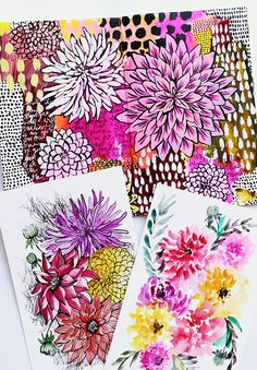 In my opinion there is no right or wrong way to draw or pain a flower. In fact, getting creative and using different techniques is a re. Zentangle Drawings, Zentangle Patterns, Acrylic Painting Techniques, Art Techniques, Alisa Burke, Elements And Principles, My Art Studio, Flower Doodles, Floral Illustrations