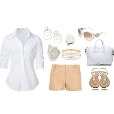 White and soft gold summer outfit., created by luckaty on Polyvore