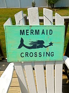 Nautical Mermaid Crossing Wood Sign Turquoise by searchnrescue2, $46.00