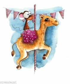 Original Watercolor Folk Art Whimsical Illustration Mouse Carousel Ride Camel | eBay