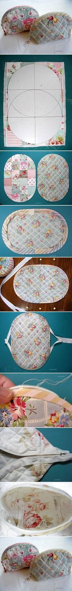 DIY Sew Makeup Bag… I'm thinking this is a great pattern idea for placemats. DIY Sew Makeup Bag… I Sewing Hacks, Sewing Tutorials, Sewing Patterns, Free Tutorials, Knitting Patterns, Purse Patterns, Craft Tutorials, Fabric Crafts, Sewing Crafts