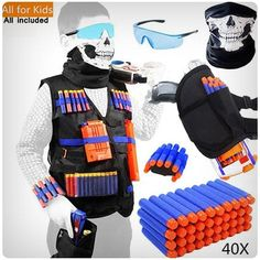 40 x refill bullet soft darts. This Tactical Vest Kit fit for Nerf Guns, lets you carry along lots of extra ammo, maximize your firepower. Comfortable and Personalized Tactical Vest Kit fit for Nerf Guns. Nerf Tactical Vest, Nerf Vest, Arma Nerf, Pistola Nerf, Cool Nerf Guns, Kids Toys For Boys, Children Toys, Tinkerbell, Nerf Toys