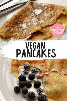 A super-simple pancake mix for making either thin crêpes or slightly thicker pancakes, as you prefer Best Vegan Recipes, Vegan Dessert Recipes, Vegan Breakfast Recipes, Pancake Recipes, Breakfast Ideas, Top Recipes, Vegan Sweets, Sweets Recipes, Easy Pancake Mix