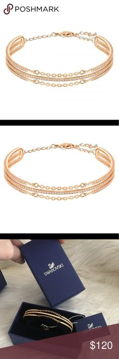 Swarovski fine gold plated bracelet bangle crystal Gold plated pave ✨ Swarovski ✨ crystal brand new in box ! Glamorize any outfit instantly with this beautiful crystal bangle  bracelet.  Refined and delicate design, yet sturdy.  Adjustable chain with clasp. Yellow gold tone, some photos show rose gold for detail. Beautiful as a gift ! pair it up with a watch and dial up the glamour ! Never worn, comes with all original packaging. Swarovski Jewelry Bracelets