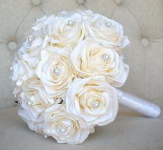 BLUSH BRIDAL Bouquet With BROOCH and Bling Pearl by KimeeKouture
