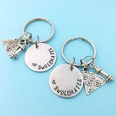Swolemates Hand stamped Fitness Keychain Set -- Check this awesome product by going to the link at the image.