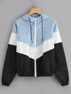 Shop Color-Block Hooded Jacket at ROMWE, discover more fashion styles online. Jean Jacket Outfits, Cute Jackets, Cheap Jackets, Denim Jackets, Fall Jackets, Mode Hijab, Cute Casual Outfits, Hoodie Jacket, Coats For Women