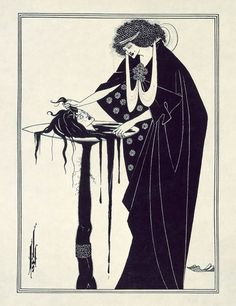 One of my favourite Art Nouveau artists at school was Aubrey Beardsley, who died of TB at twenty-five. I think I probably came across him through his illustrations for Oscar Wilde's 1896 play, Salomé. This is Salomé with the head of St John the Baptist. Steve Mccurry, Man Ray, L'art Adolescent, Salome Oscar Wilde, Business Photo, Motifs Art Nouveau, Illustration Art Nouveau, Vampire Illustration, Fantasy Illustration