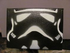 StormTrooper spray paint Original white on black on canvas stencil painting.