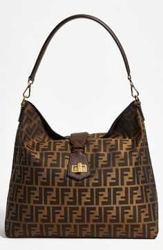 Fendi 'Zucca - Small' Logo Jacquard Hobo at Nordstrom.com. A signature Fendi twist-lock clasp is spotlighted at the front of a Zucca logo-jacquard hobo topped with a rolled leather strap.