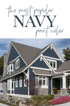 Benjamin Moore Hale Navy: The Best Navy Blue Paint Color This popular navy paint color is per Best Exterior Paint, House Paint Exterior, Exterior House Colors, Exterior Design, Interior And Exterior, Blue House Exteriors, Exterior Paint Colors For House With Stone, Exterior Paint Ideas, Home Exteriors
