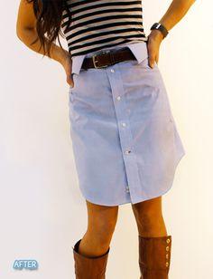 cute cute cute  Men's dress shirt turned skirt :)
