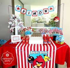 Red Angry Bird Party by http://carameloparty.blogspot.com
