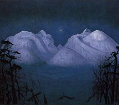 Harald Sohlberg. Winter Night in the Mountains 1901