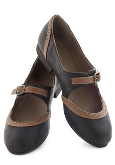 Thesis the Plan Flat in Black by Restricted - Low, Leather, Faux Leather, Brown, Buckles, Casual, Mary Jane, Variation, Top Rated