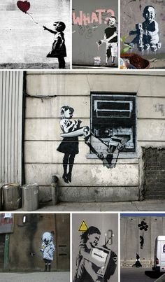 Banksy Children Graffiti & Stencils... really makes you think about our current culture and the world these children have to grow up in.