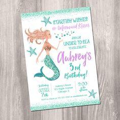 Mermaid Birthday Invitation Purple teal Gold Under The Sea