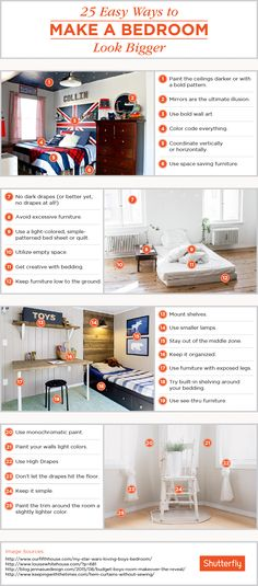 How to Make A Small Bedroom Look Bigger. How to Make A Small Bedroom Look Bigger. Four Clever Ways to Use Paint to Make Any Small Space Look Small Bedroom Designs, Small Room Design, Handmade Home Decor, Unique Home Decor, Home Decor Hacks, Diy Home Decor, Small Apartments, Small Spaces, Open Spaces