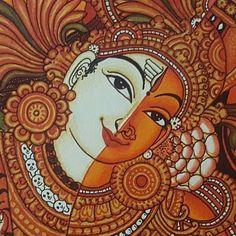 Kala Kshetram — Ardhaniswara ( kerala mural style) by Babeesh. Indian Traditional Paintings, Indian Art Paintings, Traditional Art, Kalamkari Painting, Madhubani Painting, Art Inspiration Drawing, Drawing Ideas, Sketch Drawing, Drawing Art