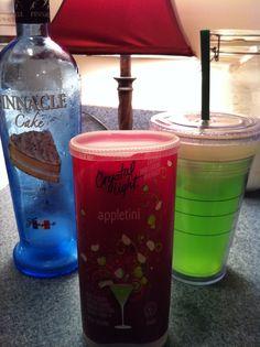 Pinnacle Cake Vodka, Crystal Light Appletini, water, & ice. Yummy!