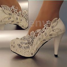 "3"" 4 "" Heel White Ivory Lace Crystal Pearls Wedding Shoes Pumps Bride Size 5-11 #weddingshoes"