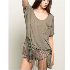 70s Fringe BLACK ONLY. This post is for black / Charcoal only. Boxy tassle fringe short sleeve tee w/ front pocket  60% Cotton, 35% Polyester, 5% Spandex POL Tops Tees - Short Sleeve