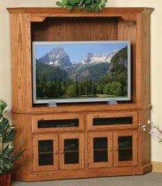 Amish Oak Corner Entertainment Center Shaker In Solid Wood 33